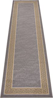 Meander Design Printed Slip Resistant Rubber Back Latex Runner Rug and Area Rugs (Grey Yellow, 1'11