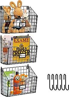 X-cosrack Lot de 3 paniers à suspendre en métal avec 6 crochets - Support mural pliable - Porte-documents pour magazines e...
