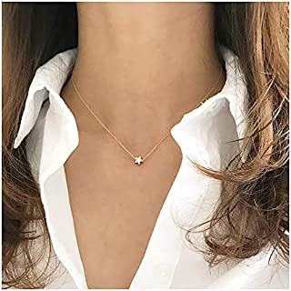 Gold Tiny Cross Necklace 18K Gold Plated Dainty Faith Heart Moon Dot Star Handmade Necklace for Women