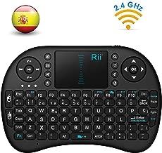 Rii Mini i8 - Teclado ergonómico con touchpad (RF 2.4 GHz, USB), color negro