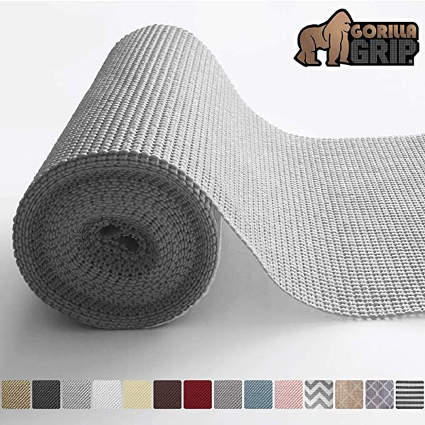 Gorilla Grip Original Drawer And Shelf Liner Non Adhesive Roll 12 Inch X 20 FT Durable And Strong For Drawers Shelves Cabinets Storage Kitchen And Desks Light Gray