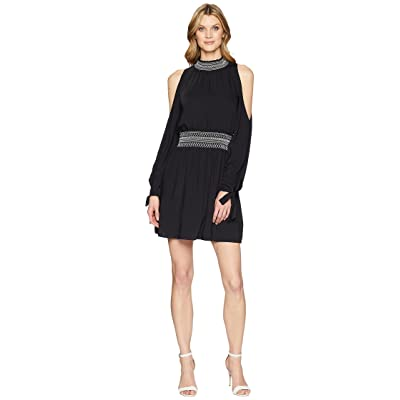 Laundry by Shelli Segal Mock Neck Fit and Flare Dress with Smocking (Black) Women