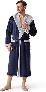 David Archy Men's Hooded Fleece Double Layer Bonded Velvet Robe Plush Soft Full Length Long Bathrobe