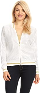 Womens Long Sleeve Front Zip Track Stripe Sequin Bomber Jacket