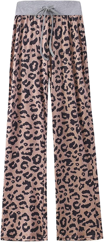 MIVAMIYA Women's Leopard Print Boho Pants Drawstring Elastic Waist Wide Leg Palazzo Pants Comfy Lounge Pajamas Trousers