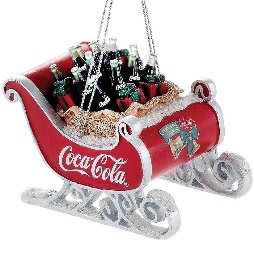 乱す連鎖平行Kurt Adler Coca -樹脂ソリwith Bottlesオーナメント# cc2155