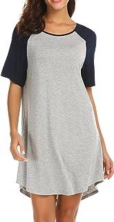 قمصان نوم ايكوير بأكمام قصيرة راجلان قمصان نوم عادية قميص نوم صالة فستان صديق نمط ملابس نوم للنساء