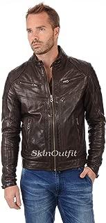 SKINOUTFIT Mens Leather Jackets Motorcycle Bomber Biker Genuine Lambskin 79