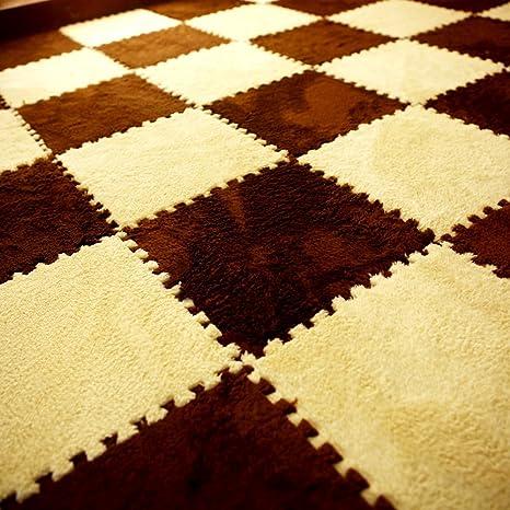 Amazon.com: Alfombra de felpa para suelo entrelazado – Alfombra de peluche  – Alfombrilla de puzzle – azulejos de alfombra entrelazados, gruesos, no  tóxicos, antifatiga, esponjosa, alfombrilla de espuma premium, talla única :