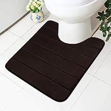 Buganda Memory Foam Contour Toilet Bath Rug, U-Shaped Non Slip Absorbent Thick Soft Washable Bathroom Rugs, Floor Carpet B...