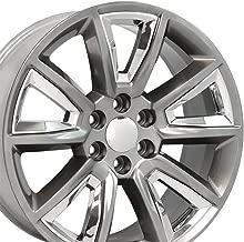 OE Wheels 22 Inch Fits Chevy Silverado Tahoe GMC Sierra Yukon Cadillac Escalade CV73B Hyper Black w/Chrome 22x9 Rim Hollander 5696