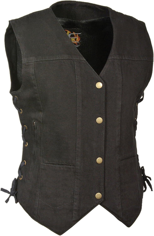 Milwaukee Women's Motorcycle Denim Club Vest bluee Black W Side Lace 6 Pockets Single Back