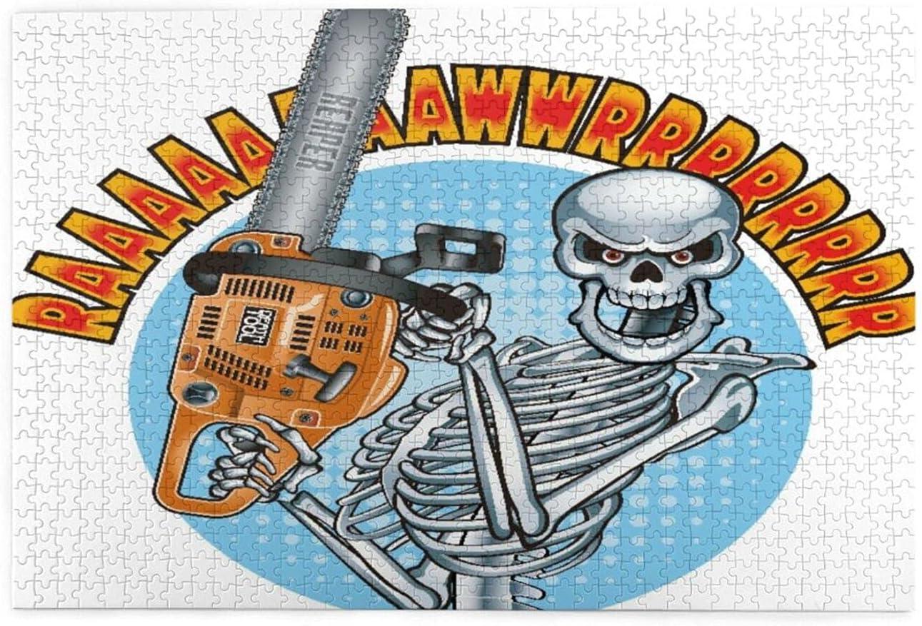 Rompecabezas 1000 Piezas,Esqueleto humano sonriente sosteniendo una motosierra,Ilustraciones de juegos de rompecabezas para familias grandes para adultos y adolescentes