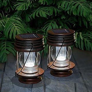 pearlstar Multifunctional Solar Led Hanging Umbrella Lantern Lights 2 Pack Garden Outdoor Pathway Lights Vintage Beach Pav...