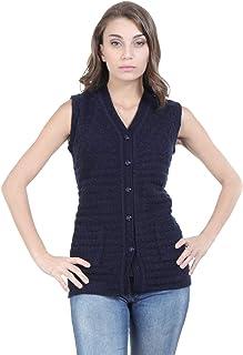 HAUTEMODA Womens Woollen Sleeveless Cardigan (Dark Blue_M)