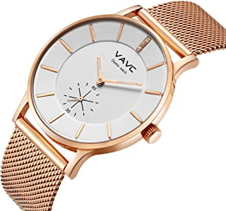 VAVC Women's Rose Gold Fashion Casual Simple Analog Quartz Dress Waterproof Wrist Watch with Stainless Steel Mesh Band¡­