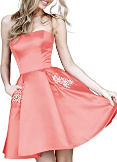 JONLYC A-Line Strapless Satin Beaded Short Homecoming Dresses with Pockets
