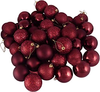 60ct Burgundy Shatterproof 4-Finish Christmas Ball Ornaments 2.5
