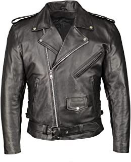 M Boss Apparel BOS11507 Mens Black Leather Armored Classic Side Lace Biker Jacket - Large