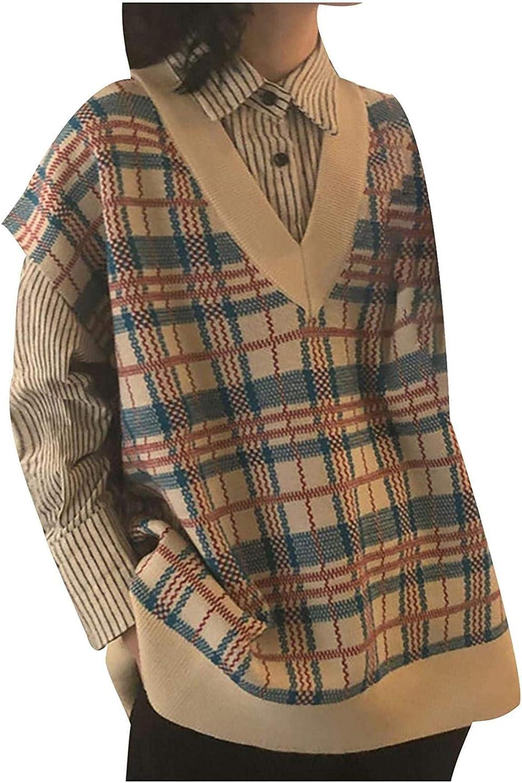 Women Sleeveless Argyle Plaid Knitted Sweater Vest Girls Loose Streetwear Preppy Style V Neck Crop Tank Top