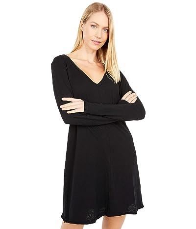 bobi Los Angeles Slubbed Jersey Long Sleeve V-Neck Dress (Black) Women