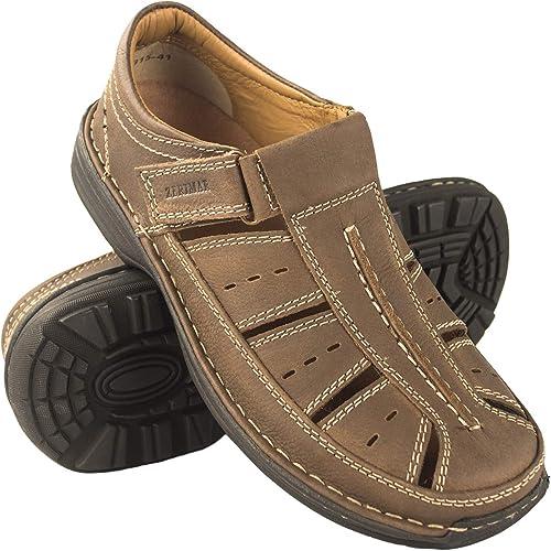 Zerimar Sandales pour Hommes   Sandales de Trekking pour Hommes   Sandales Homme Randonnée   Sandales en Cuir pour Hommes   Hommes Sandales d'été   Couleur Marron Taille 44