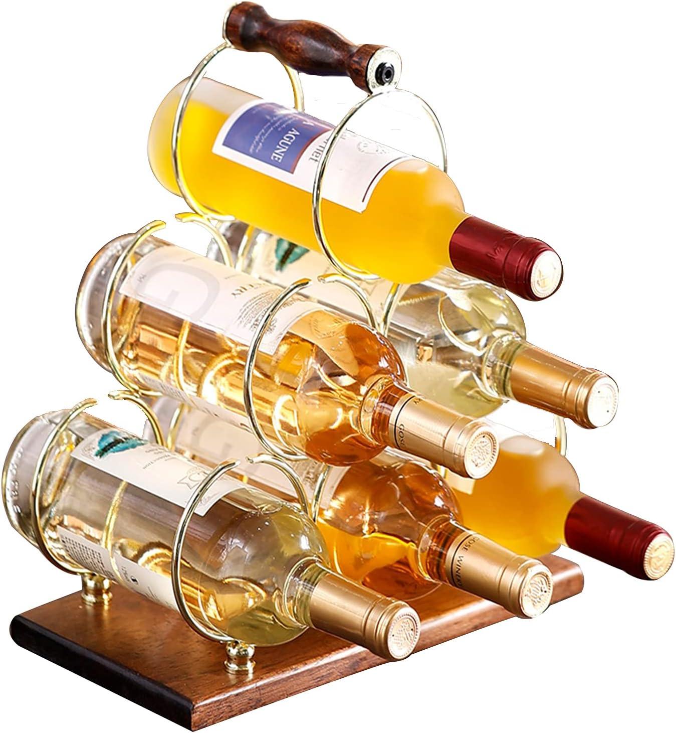 Fadak Countertop Wine Rack Genuine Tabletop Wood Bottles Manufacturer OFFicial shop 6 Holder
