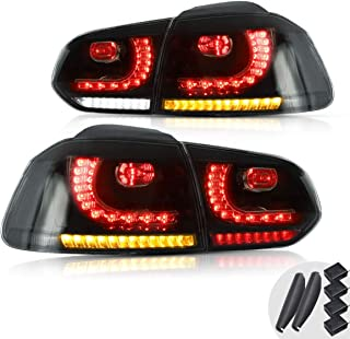 YUANZHENG Sequential Tail Lights Assembly for [Volkswagen Golf 6 VW MK6 R GTI 2010 2011 2012 2013 2014] with Full LED DRL Bars YAB-GEF-0183AH, Smoke