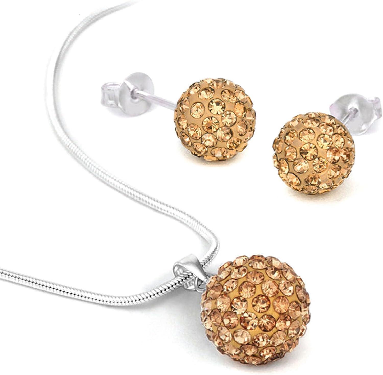 BodyJ4You Jewelry Set Crystal Ferido Ball Necklace with Stud Earrings