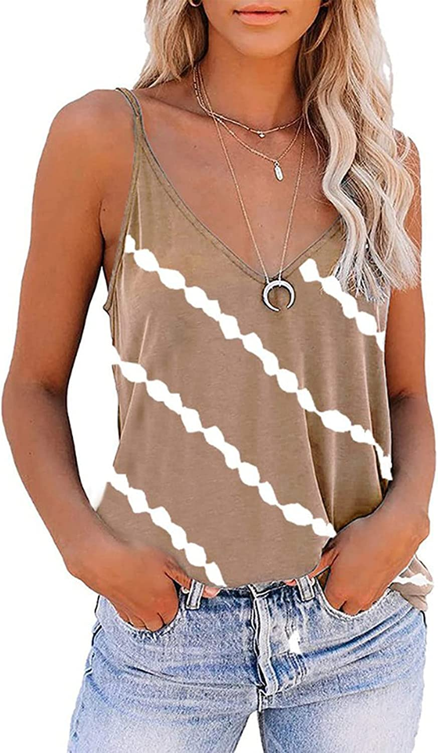 AODONG Summer Tops for Women, Sexy V Neck Tank Tops Solid Sleeveless Striped T Shirts Tops Loose Regular T-Shirts Tees