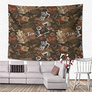 NineHuiTechnology Modern Decor Tapestry, Coffee Culture Theme with Italian Espresso French Press Tea Artwork Wall Tapestry for Bedroom Living Room Dorm, 63