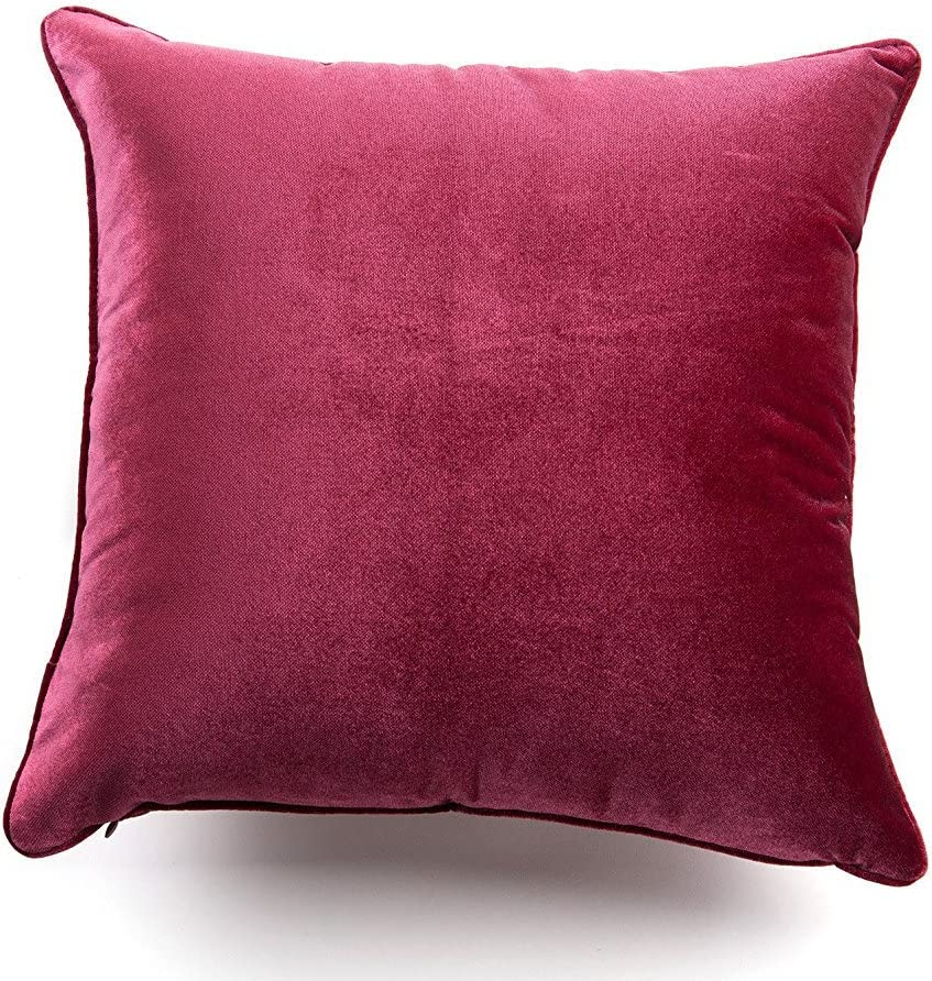 Amazon Com Set Of 2 Chenille Velvet 26 X 26 Inches Euro Pillow Cover Pillow Sham Red Home Kitchen