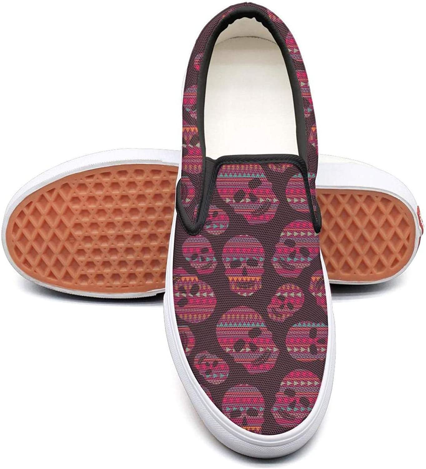 Red Skulls Slip On Canvas Upper Loafers Canvas shoes for Women Round Toe