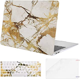 Mosiso MacBook Air 13 Inch Case 2018 Release A1932 with Retina Display, Plastic Pattern Hard Case Shell & Keyboard Cover & Screen Protector Only Compatible Newest MacBook Air 13, White Gold Marble