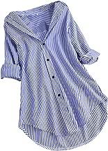 قمصان Fankle Women's Shirts مخططة وأكمام ملفوفة وياقة مطوية وأزرار كاجوال طويلة فضفاضة
