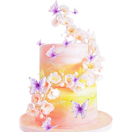 5 Pieces Glitter Butterfly Cake Toppers Happy Birthday Cake Topper with 3D Handmade Butterfly Birthday Cake Decor for Girls Womens Birthday Party Cake Supplies