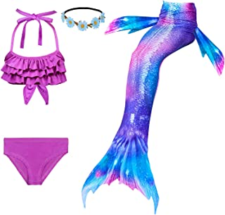Familycrazy 2019 New Girls Swimsuit Mermaid for Swimming Princess Bikini Bathing Suit Set for 3-12Y(No Monofin)