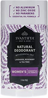 SVASTHYA BODY & MIND Natural Deodorant with Essential Oils - Womens - Gentle Skin Nourishing With A Refreshing Scent of La...