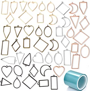 DROLE 50Pcs Hollow Frame Pendants with 1Pcs Seamless Paper Tape UV Resin Craft Bezel Charm Pendant for Jewelry Making 5 Colors