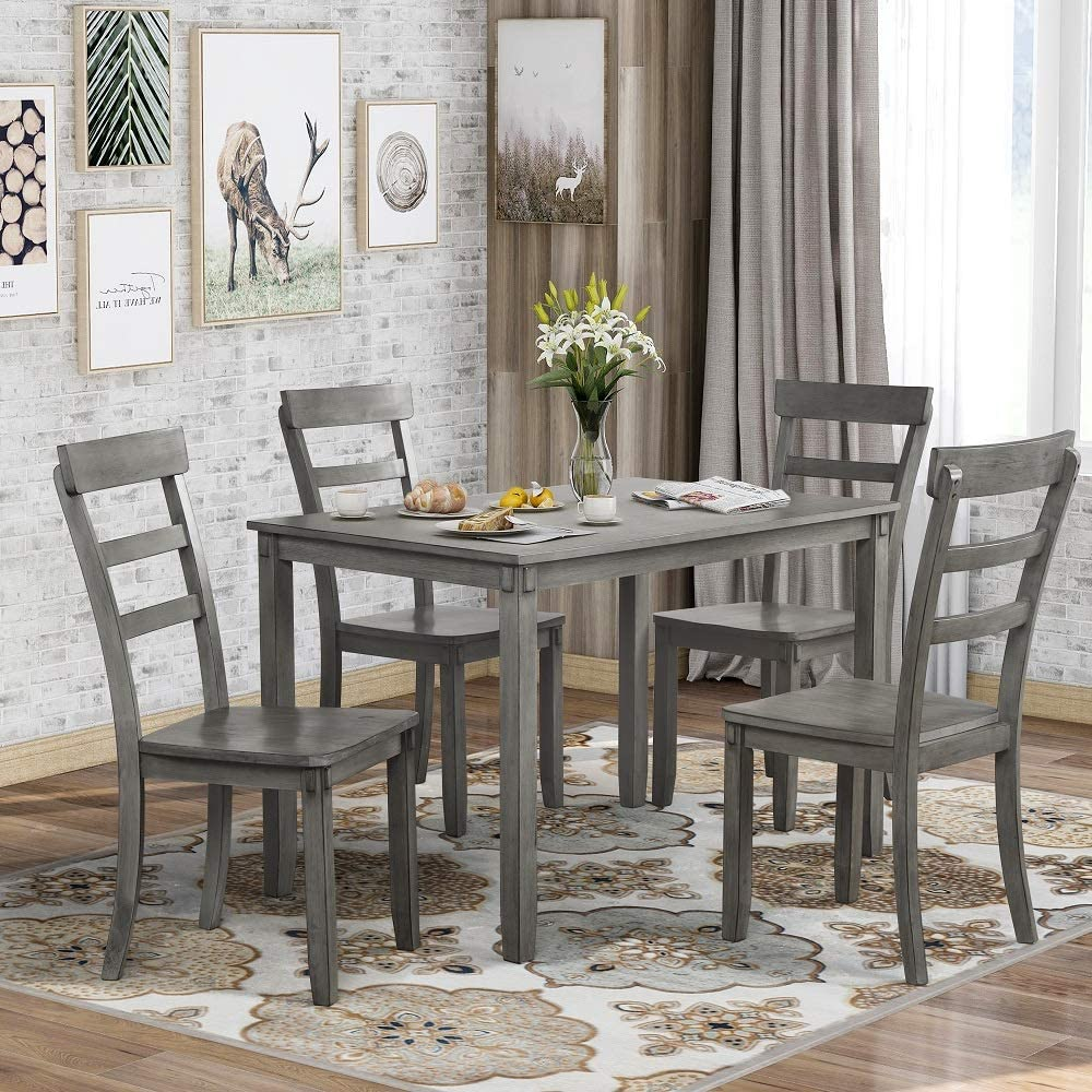 Danxee 5 Piece Kitchen Dining Table Popular with 4 cheap Ladde Chairs Wood Set