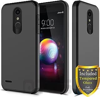 ATUS LG K30, LG Harmony 2, LG Phoenix Plus, LG Premier Pro, LG Xpression Plus, LG K10 2018 Case, with Full Cover Tempered Glass Screen Protector, Hybrid Dual Layer Protective TPU Case (Black)