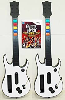 2 Nintendo Wii-U/Wii GUITAR HERO Controllers + Aerosmith Game Kit Double Bundle Set