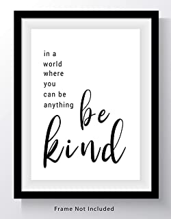 Be Kind Inspirational Word Wall Art - 11x14 UNFRAMED Print - A Great Gift for Lovers of Positive, Encouraging, Motivational Typography Decor.