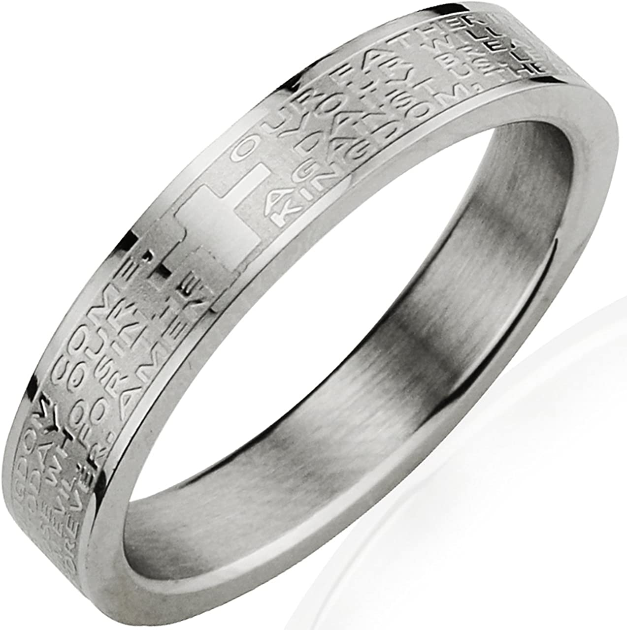 Dahlia Max 84% OFF Stainless Steel English Lord's Discount mail order Prayer - Ring 4mm Band Wom