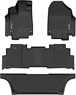 oEdRo Floor Mats Compatible for 2018-2020 Honda Odyssey, Unique Black TPE All-Weather Guard Includes 1st, 2nd and 3rd Row: Full Set Liners
