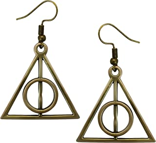 Adeley Womens Harry Potter Deathly Hallows Inspired Brass Charm Dangle Earrings