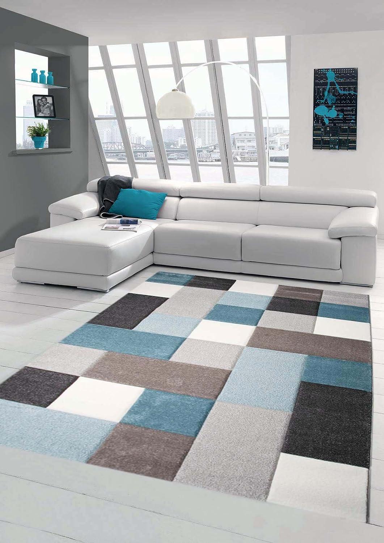 Traum Teppich Designerteppich Moderner Teppich Teppich Teppich Wohnzimmerteppich Kurzflor mit Konturenschnitt Öko-Tex in Grau Türkis Weiß, Größe 200x290 cm B06XWVGJQJ a53b09