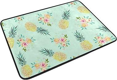 MASSIKOA Vintage Pineapple Floral Non Slip Backing Entrance Doormat Floor Mat Rug Indoor Outdoor Front Door Bathroom Mats, 23