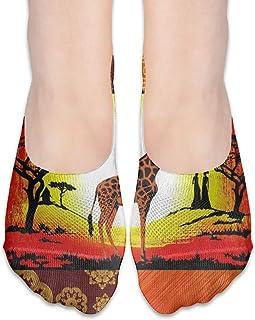 ALPHNJ, Calcetines África Mujeres Elefante Colorido Especial Mujeres Calcetines de corte bajo Calcetines invisibles atléticos para niña