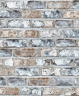 5905 Plaster Brick Wallpaper Rolls, Gray/White Brick Wall Paper Bedroom Living Room Bar Wall Decoration 20.8